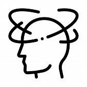 Vertigo Dizziness Man Silhouette Headache Vector Icon Thin Line. Tension And Cluster Headache, Migra poster