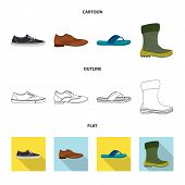 Isolated Object Of Shoe And Footwear Icon. Collection Of Shoe And Foot Stock Symbol For Web. poster