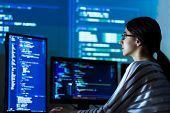 Software Developer Freelancer Woman Female In Glasses Work With Program Code C++ Java Javascript On  poster