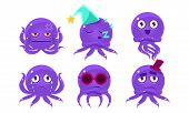 Cute Purple Glossy Octopus Character Set, Funny Sea Creature Emoticon Vector Illustration poster