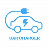 Electric Vehicle Power Charging Station. Electrical Car Symbol. Electric Car Icon With Charging Cabl poster