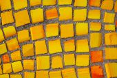 Background From Orange And Yellow Matte Mosaic. Painting Of Orange Street Mosaic. Orange And Yellow  poster