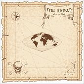 World Treasure Map. Pirate Navigation Atlas. Sinusoidal Projection. Old Map Vector. poster