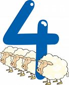 foto of counting sheep  - cartoon illustration with number four and sheeps - JPG