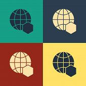 Color Honeycomb Map Of The World Icon Isolated On Color Background. World Bee Day. Concept Ecologica poster