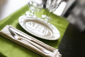 picture of banquette  - An elegant glittery table set for a fancy dinner - JPG
