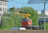 picture of railcar  - Train crane railcar - JPG