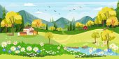 Panorama Landscape Of Spring Village With Green Meadow On Hills With Blue Sky, Vector Summer Or Spri poster