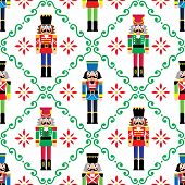 Christmas Nutcrackers Vector Seamless Pattern - Xmas Soldier Figurine Repetitive Ornament, Textile D poster