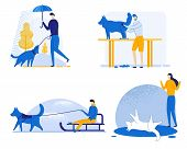 Informative Banner Dog Training Set, Cartoon. Guy Walking Rain With Dog. Dog Team Is Driving Man. Gi poster