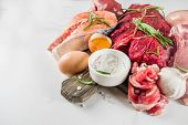 Carnivore Diet Background. Non Vegan Protein Sources, Different Meat Food - Chicken Breast, Pork Ste poster