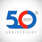 50 Th Anniversary Numbers. 50 Years Old Congrats, Colorful Logotype. Congratulation Idea. Isolated A poster