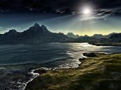stock photo of eastern hemisphere  - An image of a dark fantasy landscape - JPG