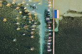 Many Boats In The Early Morning, Top View. City General Luna On The Coast Of Siargao With A Pier, A  poster