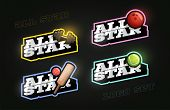All Star Retro Style Sport Logo Set. Modern Professional Typography Gym, Bowling, Cricket, Tennis Em poster