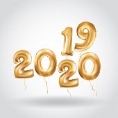 Happy New Year 2019 2020 Year After Year. Metallic Gold Balloons. Golden Letter Balloon, 2020 Happy  poster