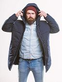 Hipster Style Menswear. Hipster Outfit. Man Bearded Hipster Stand In Warm Black Jacket Parka Isolate poster