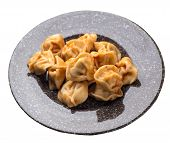Dumplings On A Brown With A Marble Crumb Plate Isolated On White Background. Dumplings In Tomato Sau poster