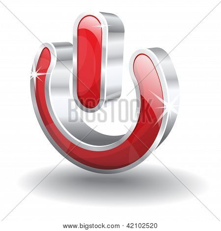 3d Glossy Vector Power Button Icon