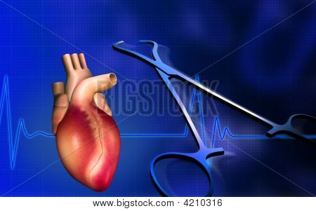 Heart With Eco Cardio Gram Pulse And Surgical Scissor