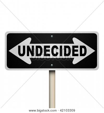 A road sign with the word Undecided and arrows pointing left and right to represent indecision and confusion in trying to reach a difficult decision