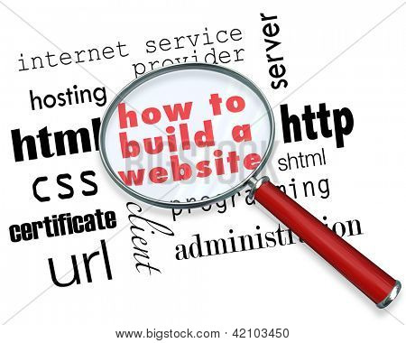 A magnifying glass hovering over several terms you might find in instructions for how to build a website, such as html programming, internet service provider, url, hosting and more