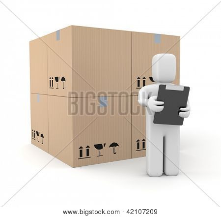 Person with clipboard and boxes