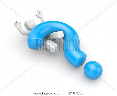 3d person with heavy blue question mark
