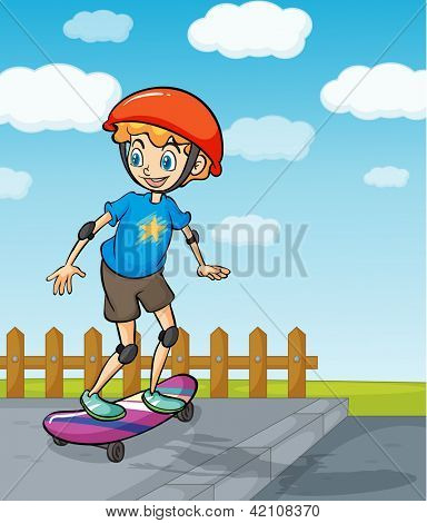 Illustration of a boy playing skatboard in a beautiful nature