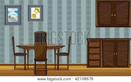Illustration of a dinning table and a wardrobe in a room