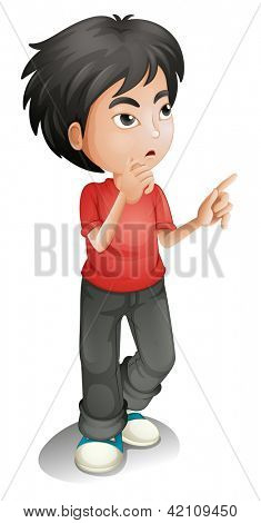 Illustration of a thinking boy on a white background