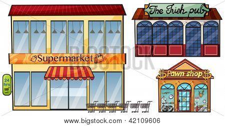 Illustration of a supermarket, the Irish pub amd a pawn shop on a white background