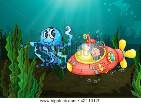 Illustration of kids exploring under the sea
