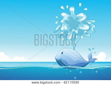 Illustration of a big fish in the sea
