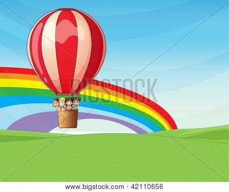 Illustration of four young children riding on a hot air balloon with excitement
