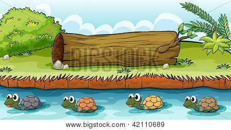 Illustration of turtles in the river