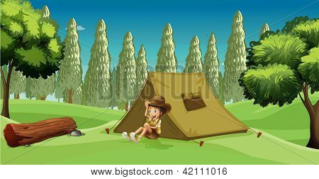 Illustration of a girl scout camping in the middle of the forest