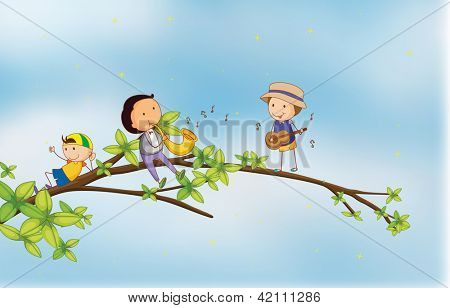 Illustration of kids singing and playing musical instruments