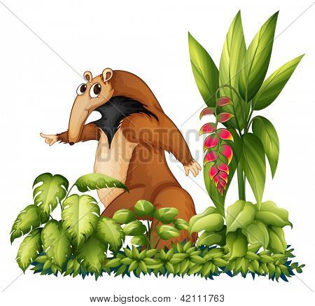 Illustration of an anteater with plants