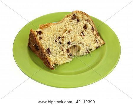 Panettone Bread Slice On Green Plate