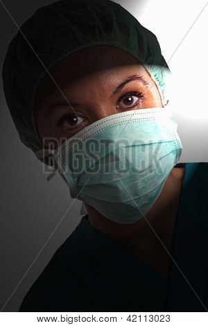 Portrait of female surgeon wearing mask