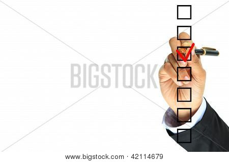 Hand choosing one of seven options