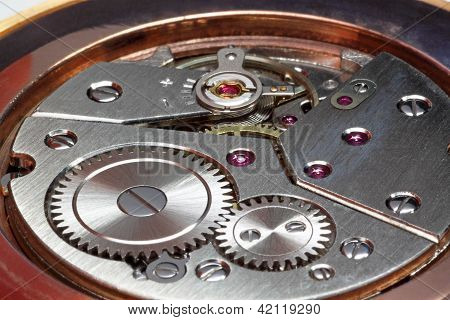 Closeup Of Watch Gears