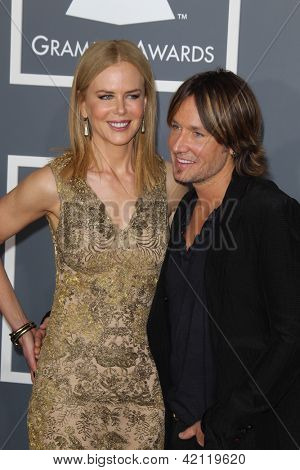 LOS ANGELES - FEB 10:  Nicole Kidman, Keith Urban arrives at the 55th Annual Grammy Awards at the Staples Center on February 10, 2013 in Los Angeles, CA