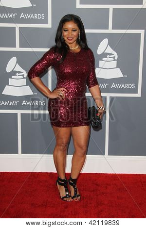 LOS ANGELES - FEB 10:  Tamala Jones arrives at the 55th Annual Grammy Awards at the Staples Center on February 10, 2013 in Los Angeles, CA