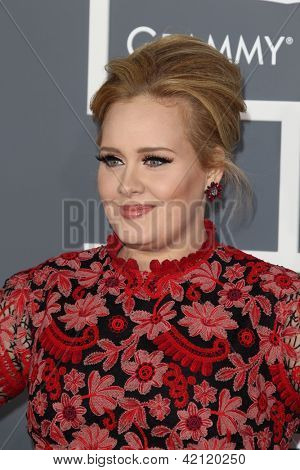 LOS ANGELES - FEB 10:  Adele arrives at the 55th Annual Grammy Awards at the Staples Center on February 10, 2013 in Los Angeles, CA