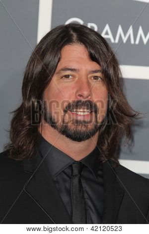 LOS ANGELES - FEB 10:  Dave Grohl arrives at the 55th Annual Grammy Awards at the Staples Center on February 10, 2013 in Los Angeles, CA