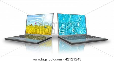 Two Laptops Are On A White Background.