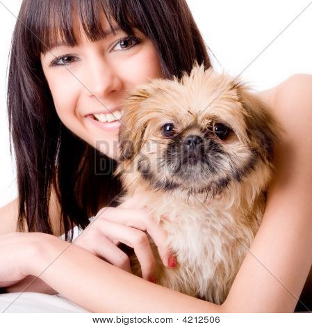 Happy With Her Dog