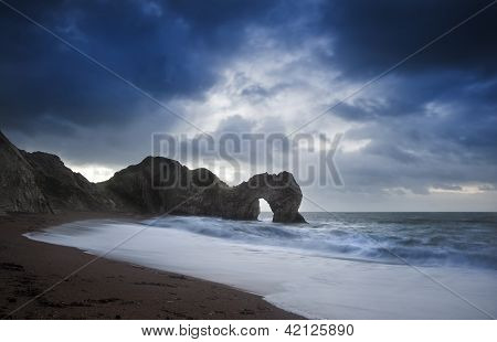 Pre-dawn Durdle Door On Jurassic Coast In England